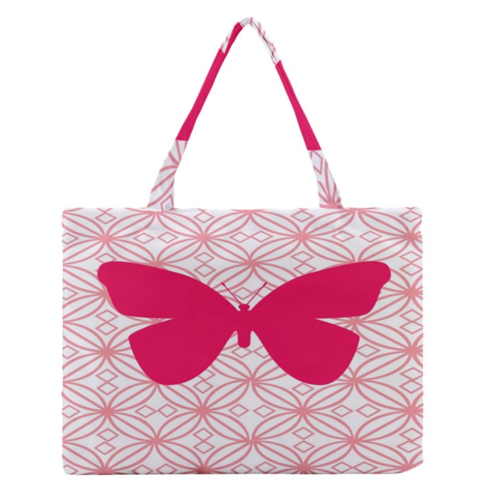 Butterfly Animals Pink Plaid Triangle Circle Flower Medium Zipper Tote Bag