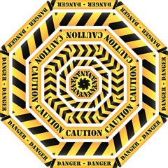Caution Road Sign Warning Cross Danger Yellow Chevron Line Black Hook Handle Umbrellas (large) by Alisyart