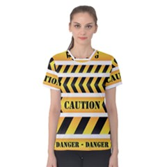 Caution Road Sign Warning Cross Danger Yellow Chevron Line Black Women s Cotton Tee by Alisyart