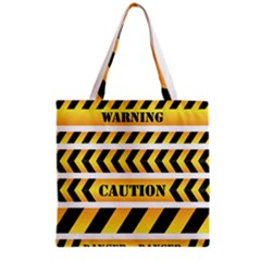 Caution Road Sign Warning Cross Danger Yellow Chevron Line Black Grocery Tote Bag by Alisyart