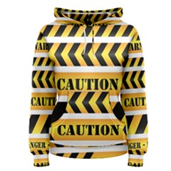 Caution Road Sign Warning Cross Danger Yellow Chevron Line Black Women s Pullover Hoodie