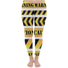 Caution Road Sign Warning Cross Danger Yellow Chevron Line Black Classic Winter Leggings