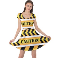 Caution Road Sign Warning Cross Danger Yellow Chevron Line Black Cap Sleeve Dresses