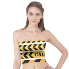 Caution Road Sign Warning Cross Danger Yellow Chevron Line Black Tube Top by Alisyart