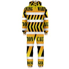 Caution Road Sign Warning Cross Danger Yellow Chevron Line Black Hooded Jumpsuit (men)  by Alisyart