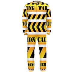 Caution Road Sign Warning Cross Danger Yellow Chevron Line Black Onepiece Jumpsuit (men)  by Alisyart