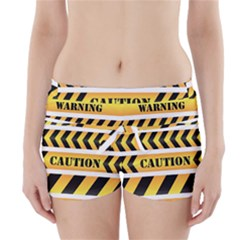 Caution Road Sign Warning Cross Danger Yellow Chevron Line Black Boyleg Bikini Wrap Bottoms by Alisyart