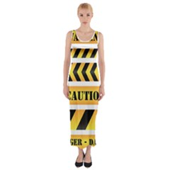 Caution Road Sign Warning Cross Danger Yellow Chevron Line Black Fitted Maxi Dress by Alisyart