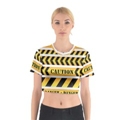 Caution Road Sign Warning Cross Danger Yellow Chevron Line Black Cotton Crop Top