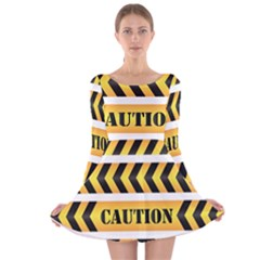 Caution Road Sign Warning Cross Danger Yellow Chevron Line Black Long Sleeve Velvet Skater Dress by Alisyart