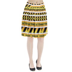Caution Road Sign Warning Cross Danger Yellow Chevron Line Black Pleated Skirt by Alisyart