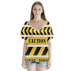 Caution Road Sign Warning Cross Danger Yellow Chevron Line Black Flutter Sleeve Top by Alisyart