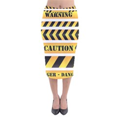 Caution Road Sign Warning Cross Danger Yellow Chevron Line Black Velvet Midi Pencil Skirt by Alisyart