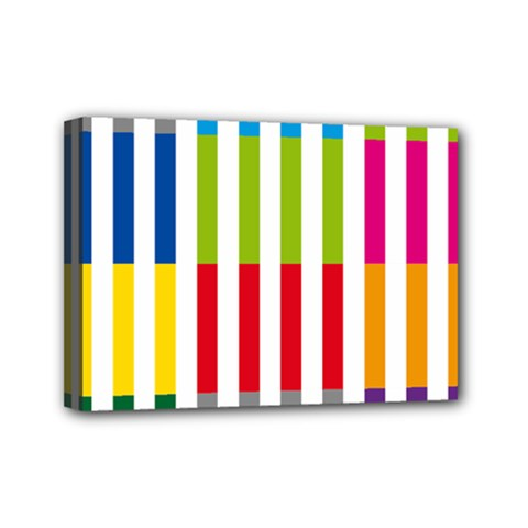 Color Bars Rainbow Green Blue Grey Red Pink Orange Yellow White Line Vertical Mini Canvas 7  X 5  by Alisyart