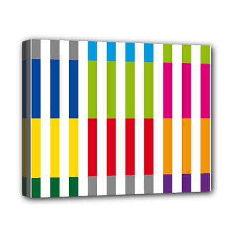 Color Bars Rainbow Green Blue Grey Red Pink Orange Yellow White Line Vertical Canvas 10  X 8  by Alisyart