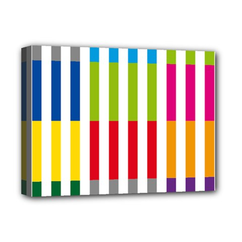 Color Bars Rainbow Green Blue Grey Red Pink Orange Yellow White Line Vertical Deluxe Canvas 16  X 12   by Alisyart