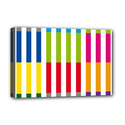 Color Bars Rainbow Green Blue Grey Red Pink Orange Yellow White Line Vertical Deluxe Canvas 18  X 12   by Alisyart