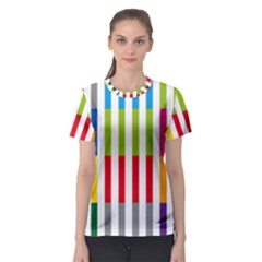 Color Bars Rainbow Green Blue Grey Red Pink Orange Yellow White Line Vertical Women s Sport Mesh Tee