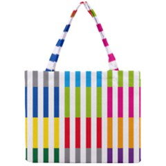 Color Bars Rainbow Green Blue Grey Red Pink Orange Yellow White Line Vertical Mini Tote Bag by Alisyart
