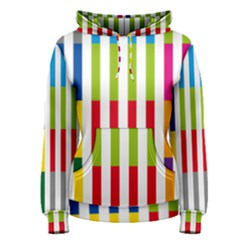 Color Bars Rainbow Green Blue Grey Red Pink Orange Yellow White Line Vertical Women s Pullover Hoodie