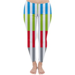 Color Bars Rainbow Green Blue Grey Red Pink Orange Yellow White Line Vertical Classic Winter Leggings