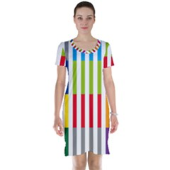 Color Bars Rainbow Green Blue Grey Red Pink Orange Yellow White Line Vertical Short Sleeve Nightdress