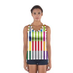 Color Bars Rainbow Green Blue Grey Red Pink Orange Yellow White Line Vertical Women s Sport Tank Top
