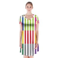 Color Bars Rainbow Green Blue Grey Red Pink Orange Yellow White Line Vertical Short Sleeve V Neck Flare Dress by Alisyart