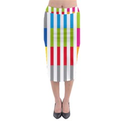 Color Bars Rainbow Green Blue Grey Red Pink Orange Yellow White Line Vertical Midi Pencil Skirt by Alisyart