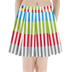 Color Bars Rainbow Green Blue Grey Red Pink Orange Yellow White Line Vertical Pleated Mini Skirt
