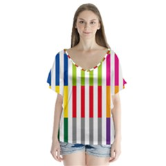 Color Bars Rainbow Green Blue Grey Red Pink Orange Yellow White Line Vertical Flutter Sleeve Top