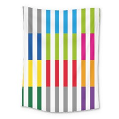 Color Bars Rainbow Green Blue Grey Red Pink Orange Yellow White Line Vertical Medium Tapestry by Alisyart