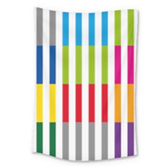 Color Bars Rainbow Green Blue Grey Red Pink Orange Yellow White Line Vertical Large Tapestry by Alisyart