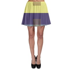 Color Therey Orange Yellow Purple Blue Skater Skirt