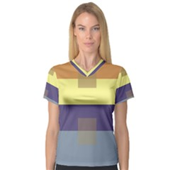 Color Therey Orange Yellow Purple Blue Women s V Neck Sport Mesh Tee by Alisyart