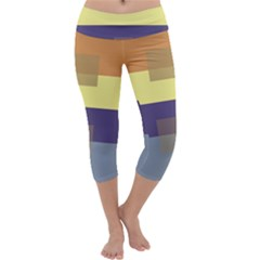 Color Therey Orange Yellow Purple Blue Capri Yoga Leggings