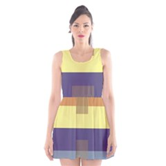 Color Therey Orange Yellow Purple Blue Scoop Neck Skater Dress