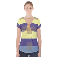 Color Therey Orange Yellow Purple Blue Short Sleeve Front Detail Top by Alisyart