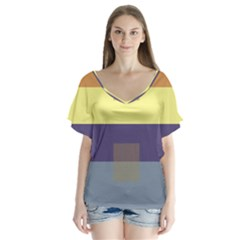 Color Therey Orange Yellow Purple Blue Flutter Sleeve Top