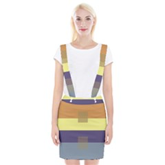 Color Therey Orange Yellow Purple Blue Suspender Skirt by Alisyart
