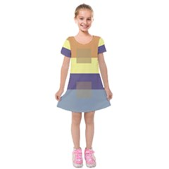 Color Therey Orange Yellow Purple Blue Kids  Short Sleeve Velvet Dress by Alisyart