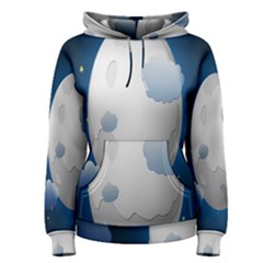 Cloud Moon Star Blue Sky Night Light Women s Pullover Hoodie