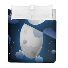 Cloud Moon Star Blue Sky Night Light Duvet Cover Double Side (full/ Double Size) by Alisyart