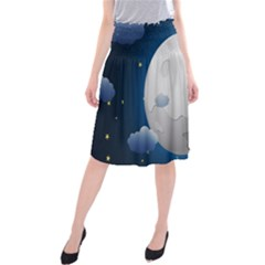 Cloud Moon Star Blue Sky Night Light Midi Beach Skirt by Alisyart