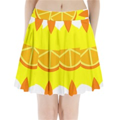Citrus Cutie Request Orange Limes Yellow Pleated Mini Skirt