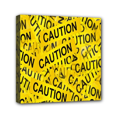 Caution Road Sign Cross Yellow Mini Canvas 6  X 6  by Alisyart