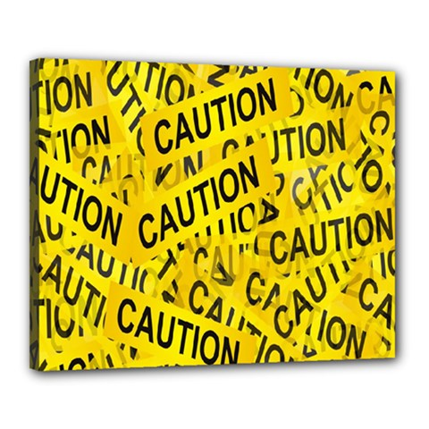 Caution Road Sign Cross Yellow Canvas 20  X 16