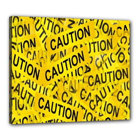 Caution Road Sign Cross Yellow Canvas 24  X 20  by Alisyart