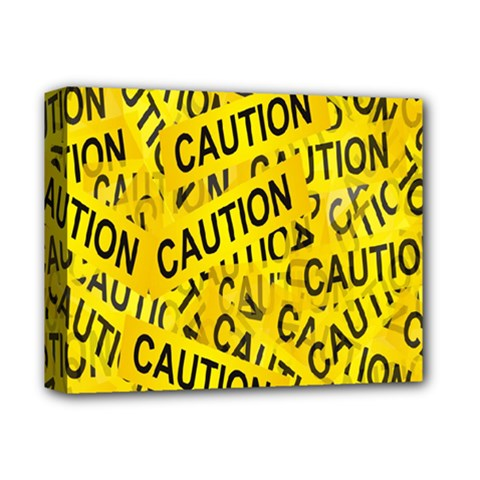 Caution Road Sign Cross Yellow Deluxe Canvas 14  X 11  by Alisyart