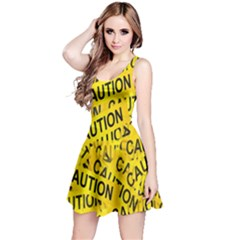 Caution Road Sign Cross Yellow Reversible Sleeveless Dress